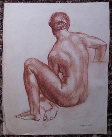 Av femme assise de dos sanguine 1937