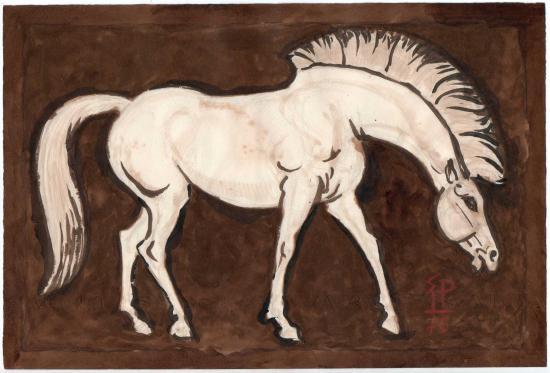 Cheval blanc sur fond brun 200 28 1x19
