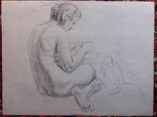 Femme la tete sur le genou 1934 verso