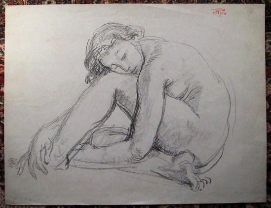 Femme la tete sur le genou 1936