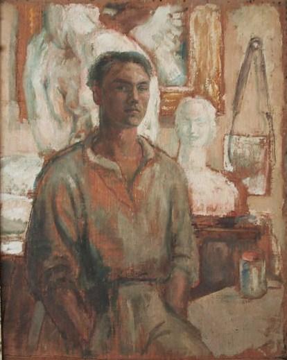 Pe autoportrait dans l atelier recadre